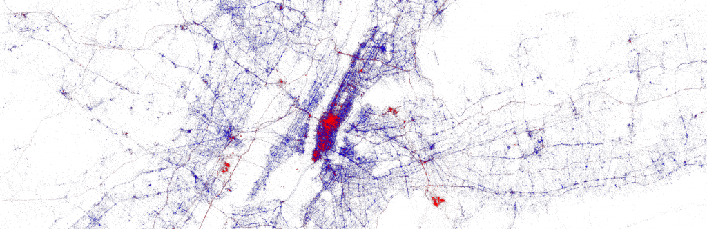 Visualization of Twitter metadata for NYC published jointly by Gnip & Mapbox and data artist Eric Fischer