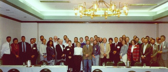 First meeting of NSGIC in Atlanta, October, 1991. Courtesy of Bill Johnson, former GIO of New York and invited 25th Anniversary speaker at 2016 Annual NSGIC Conference. My former boss for MassGIS state government work, Rick Taupier, is the bearded fellow in the second row, just right of center.