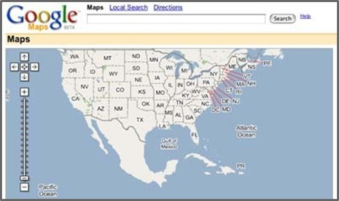Google Maps UI circa 2005 from googlesystems.blogspot.com