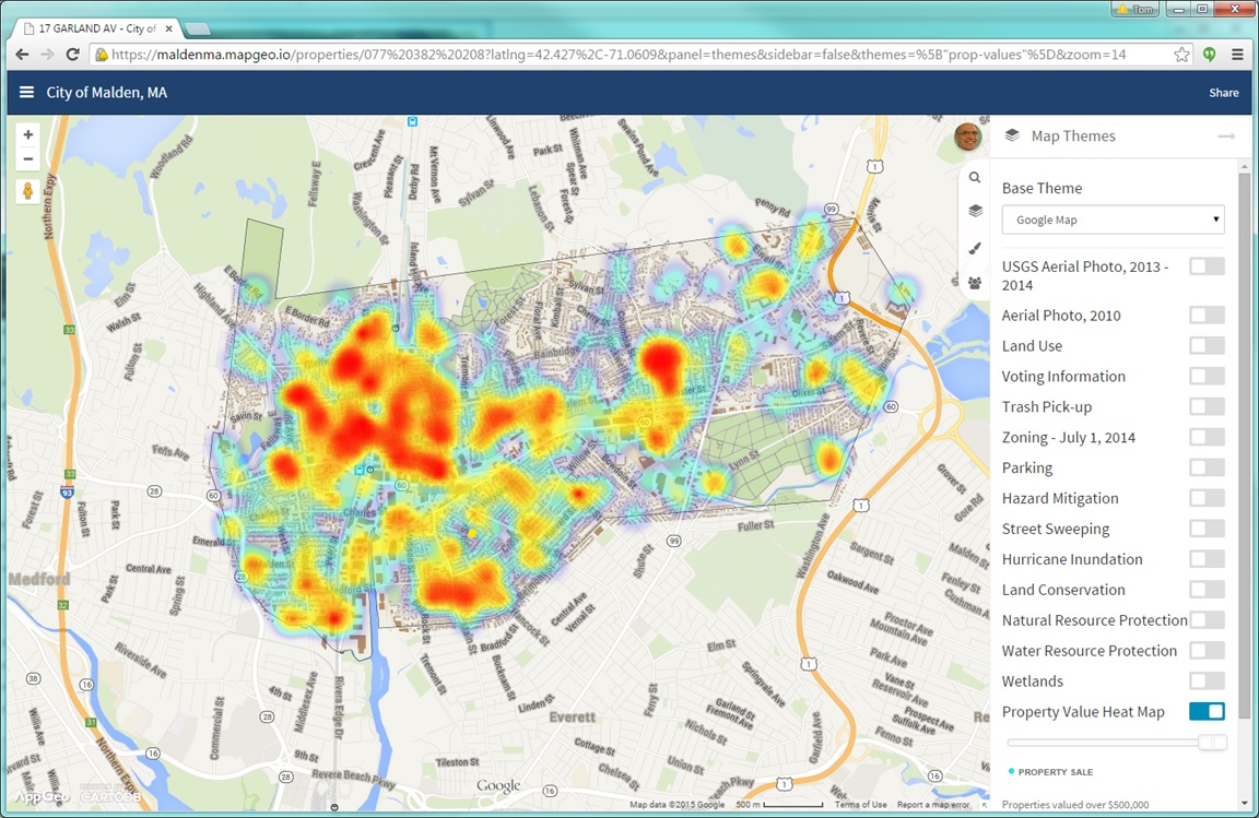MapGeo 2.0 helps you to organize and present your data, such as this Heat Map of property sales