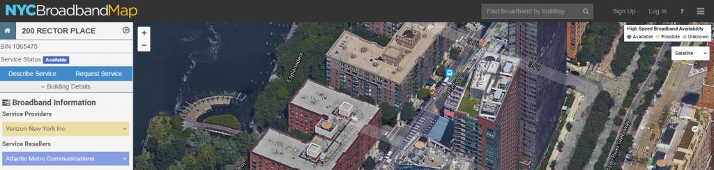 NYCEDC Broadband Web App - top portion