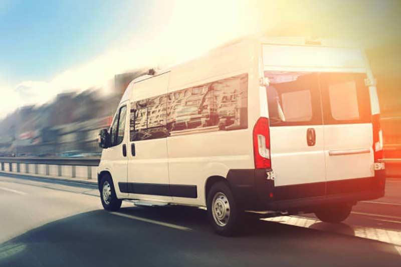 Van on hghway